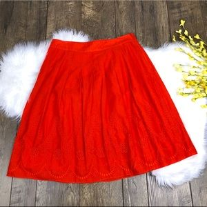 Talbots Orange Embroidered A Line Pleated Skirt 6P